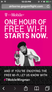 T-Mobile Free In-Flight WiFi Activated
