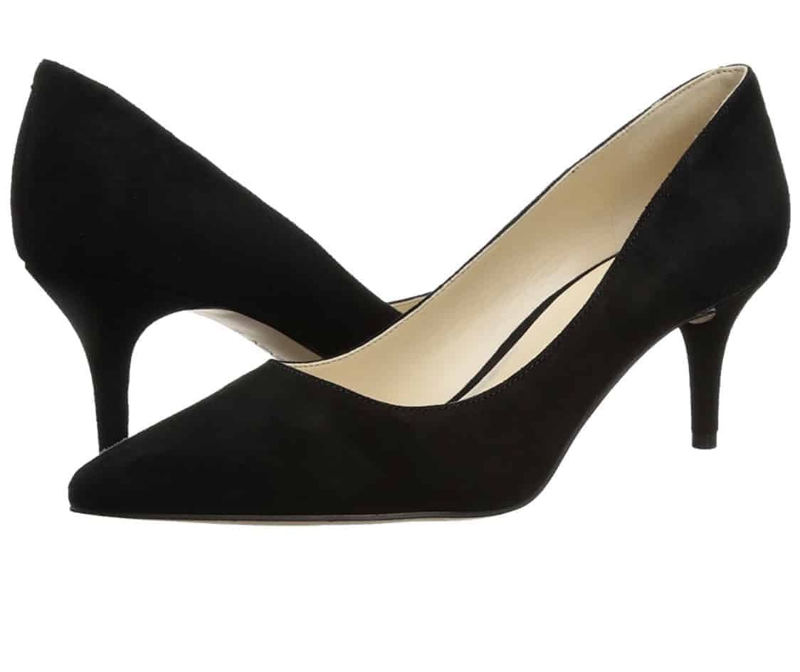 Black suede kitten heels Nine West Margo style