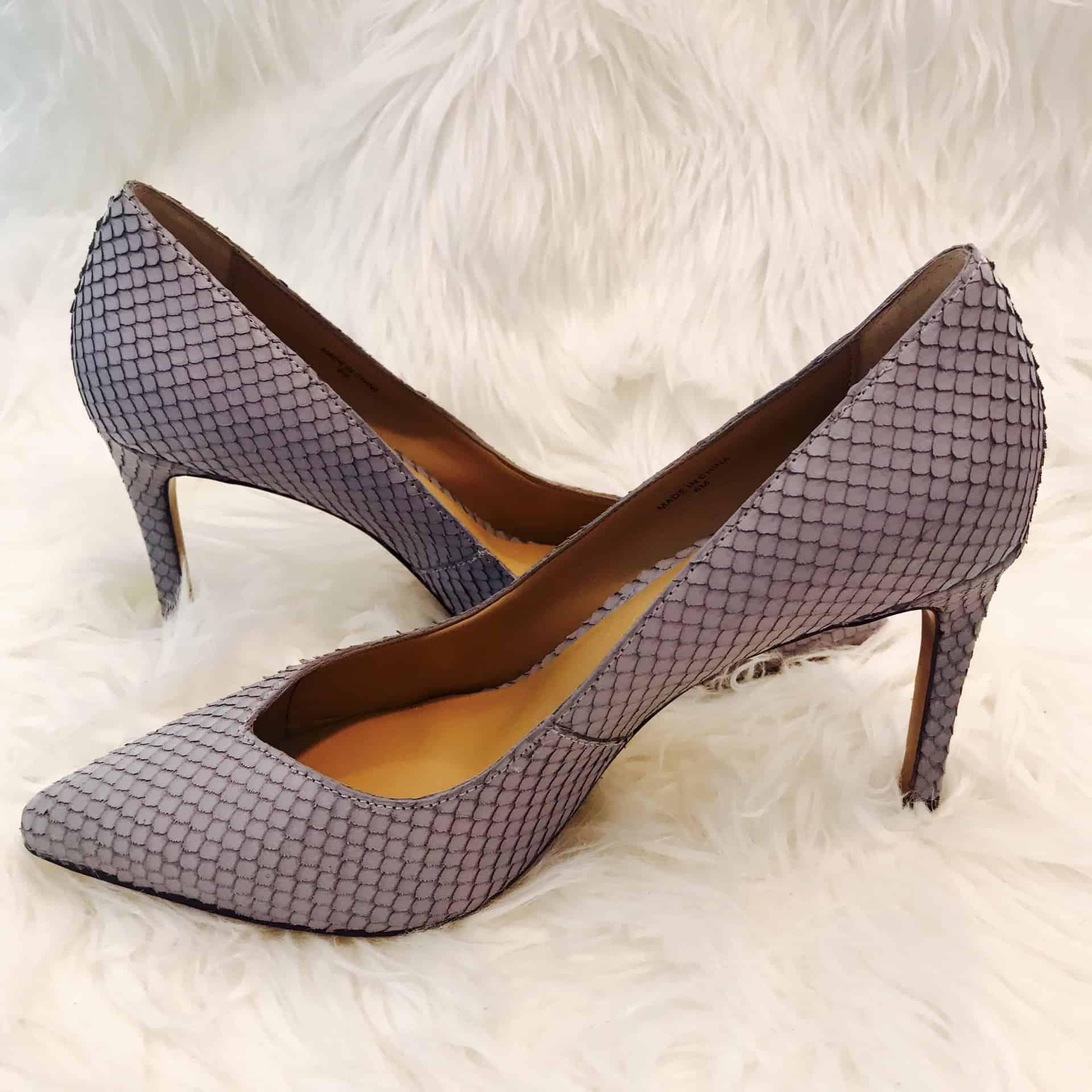 Leather pump high heels