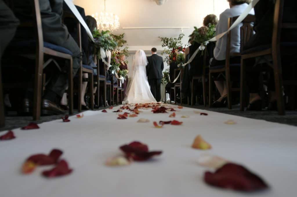 a church, small wedding venue