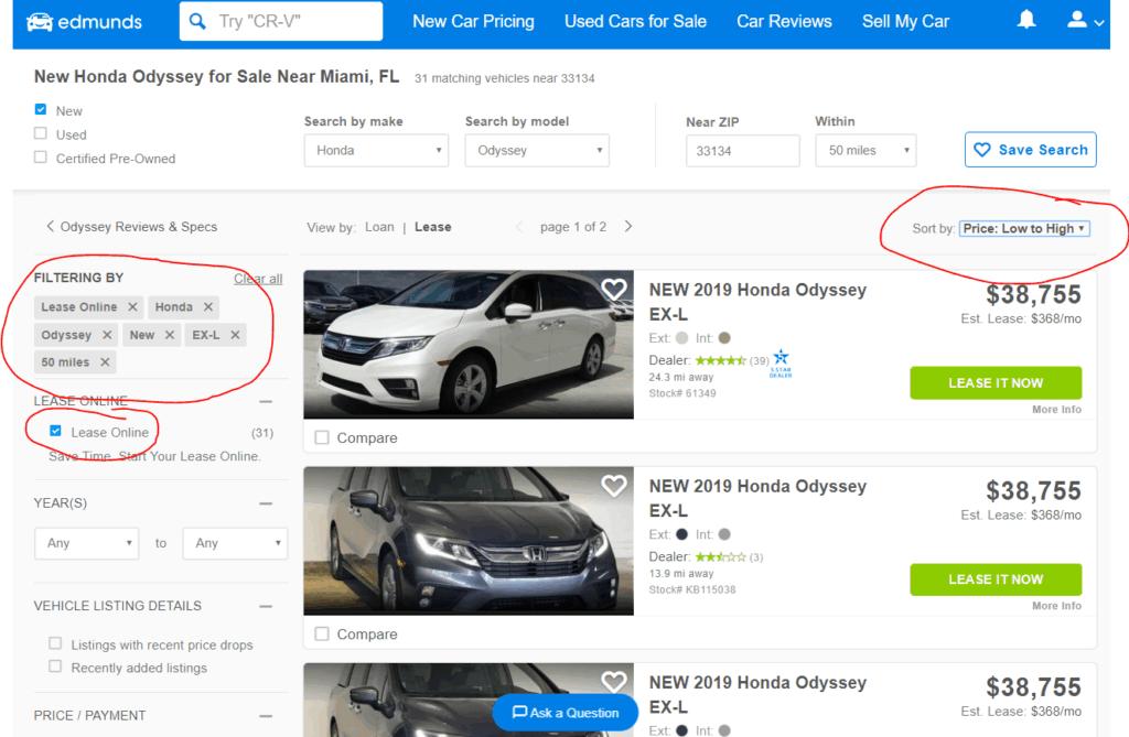 minivan lease online