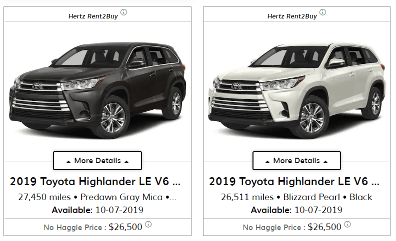 hertz car sales cars