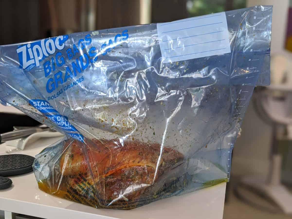 marinading in Ziploc big bags