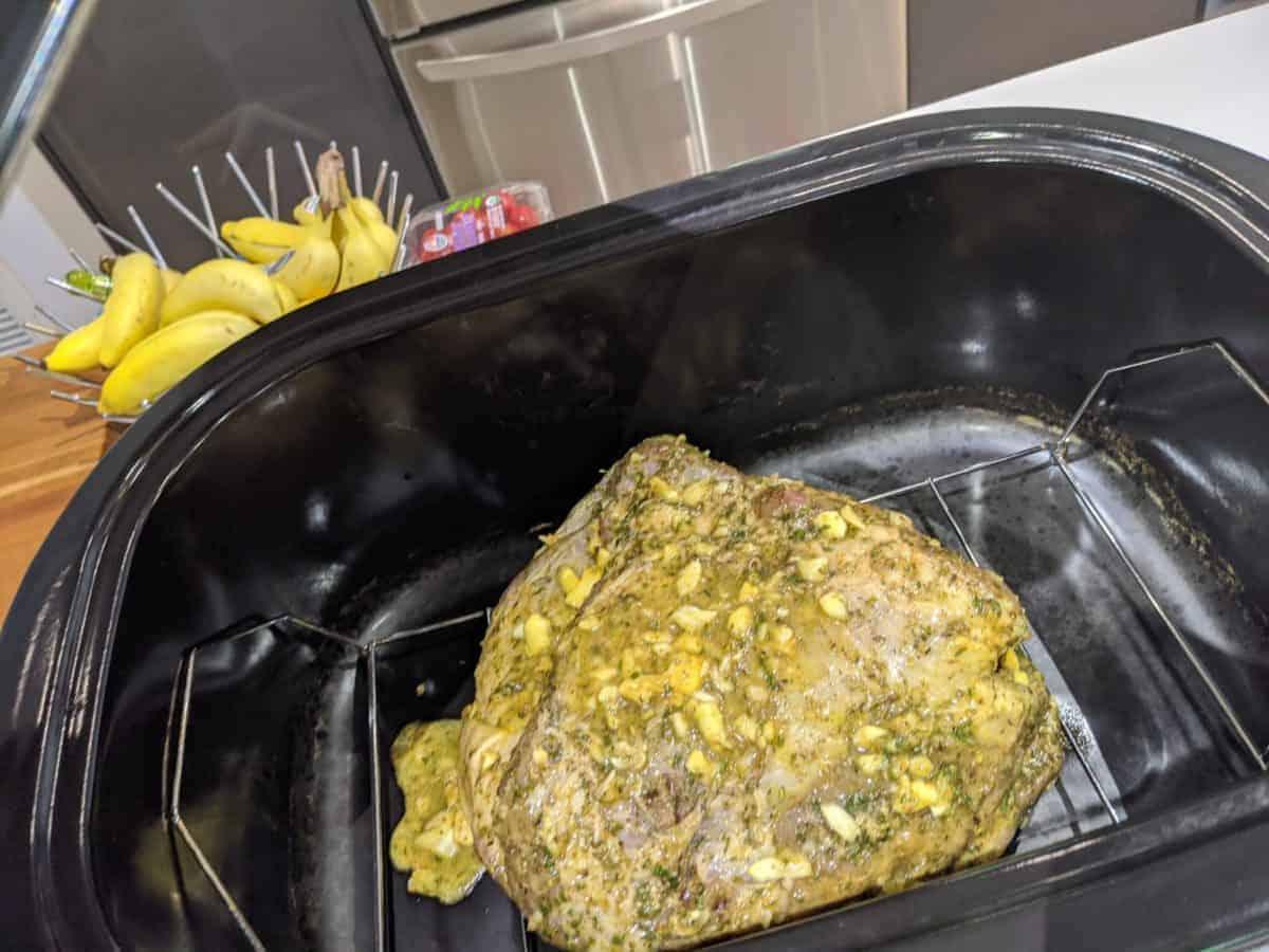 roast pork in progress